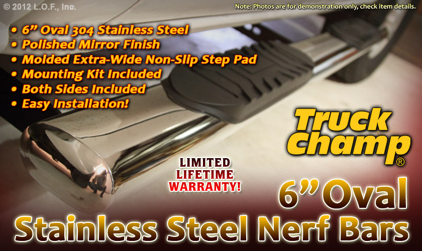 """Nerf Step Bars 6"""" Oval Stainless 09 2013 Dodge RAM 1500 Crew Cab 10 12 2500 3500"""