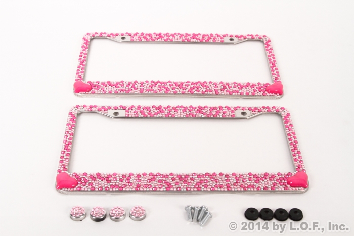 2 heart pink bling crystal rhinestone license plate frame car truck auto girly