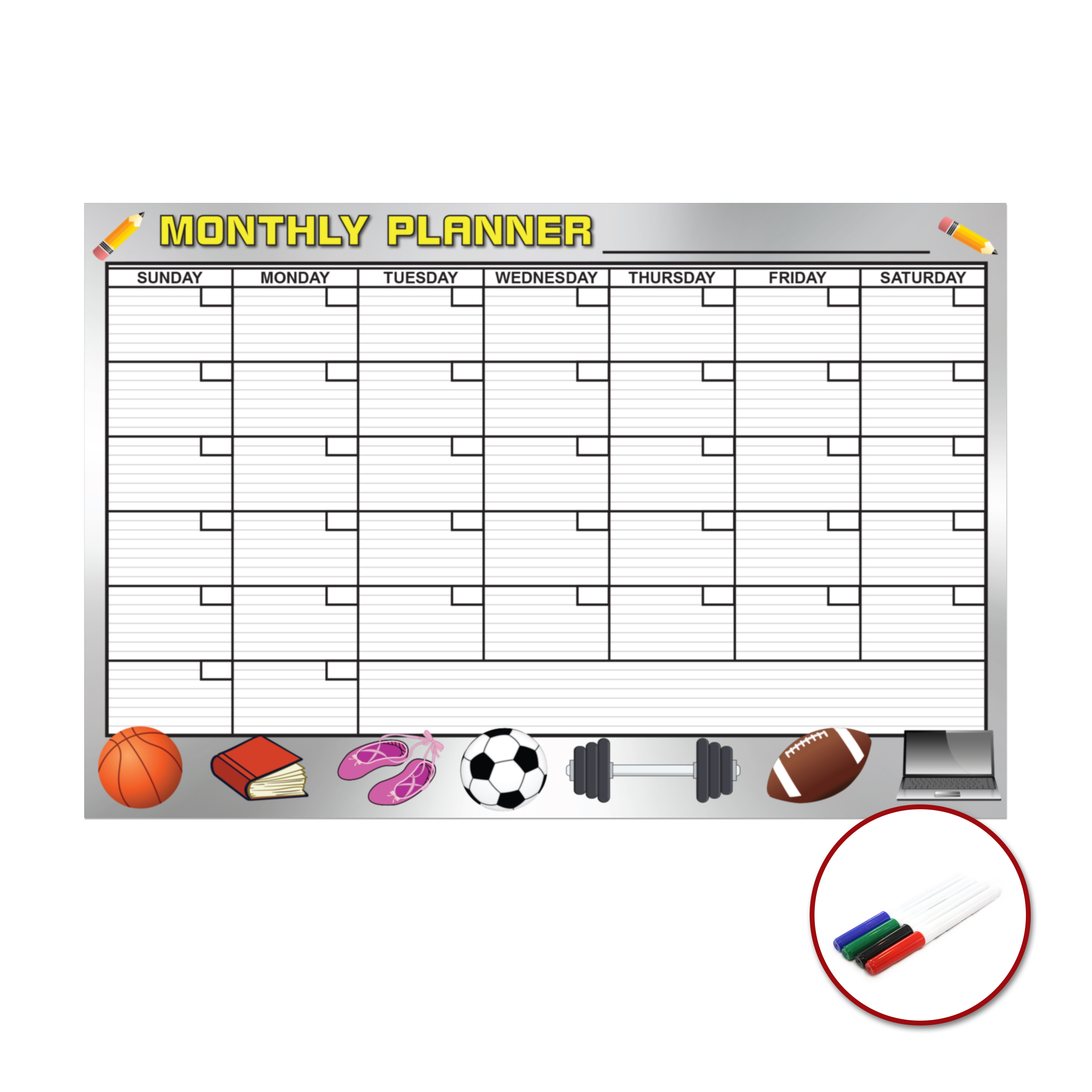 """Planning Monthly Dry Erase Wall Calendar Removable Self Adhesive Large 36/"""" Wide"""