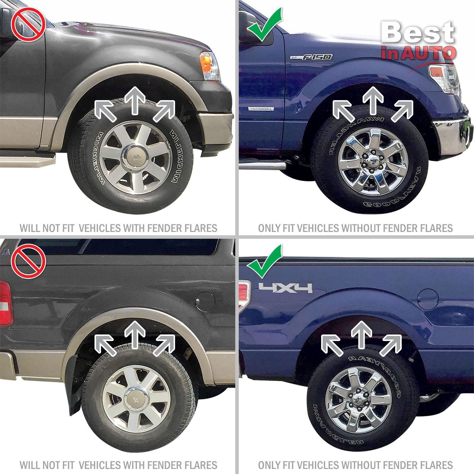 Ford F150 Mud Flaps 2004-2014 Mud Guards Splash Molded 4 Piece Front ...