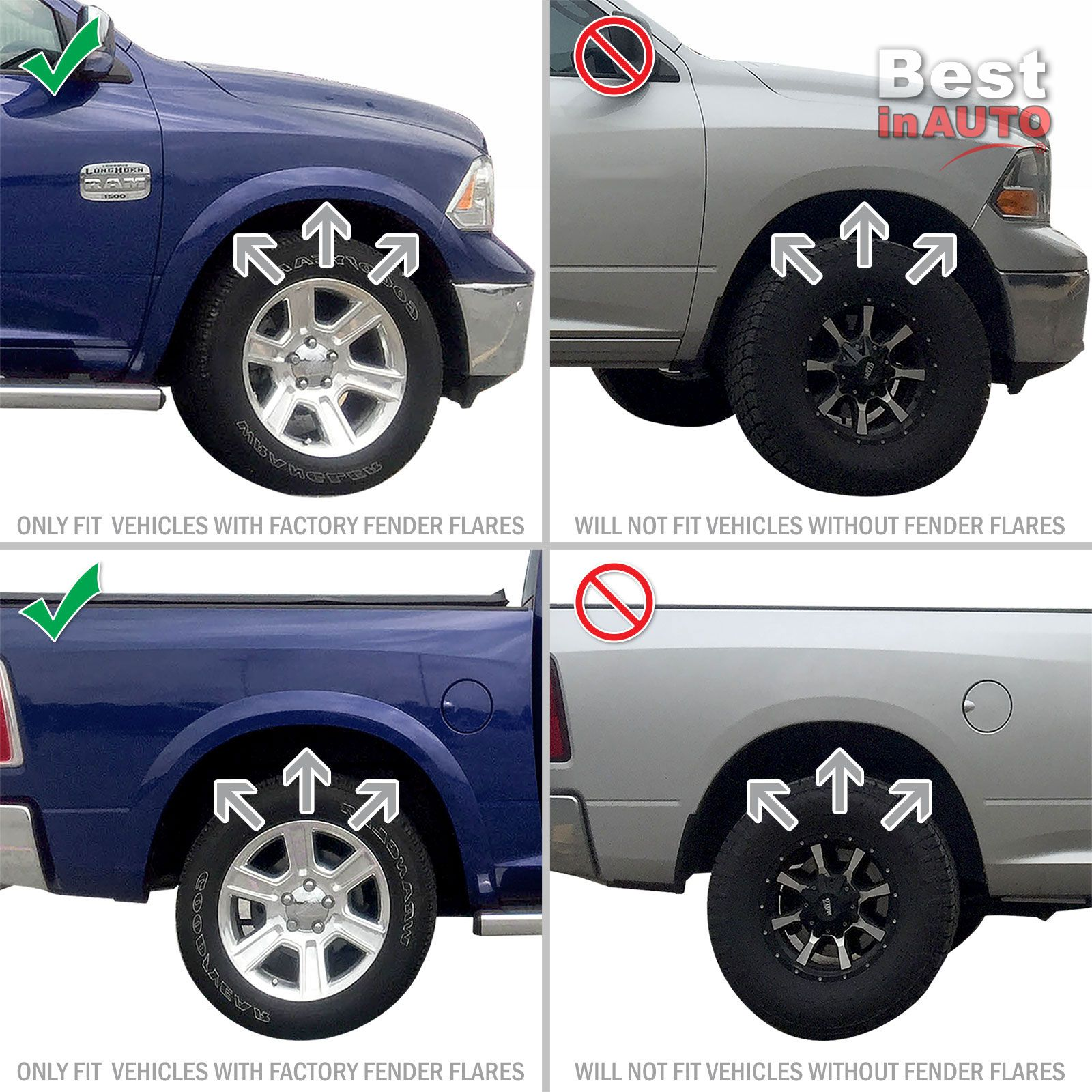 Only fits Vehicles with OEM Fender Flares Red Hound Auto Heavy Duty Molded Splash Guards Mud Flaps Compatible with Dodge//Ram Front and Rear 4 Piece Set 2009-2018 1500, 2010-2018 2500//3500