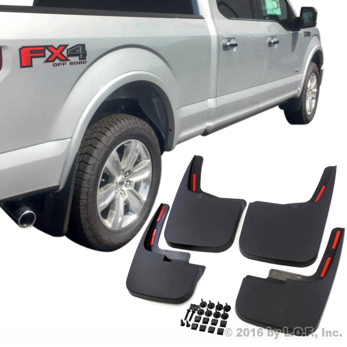 Without Fender Flares Red Hound Auto Premium Heavy Duty Molded 2004-2014 Compatible with Ford F-150 Mud Flaps Guards Splash Front Rear 4pc Set