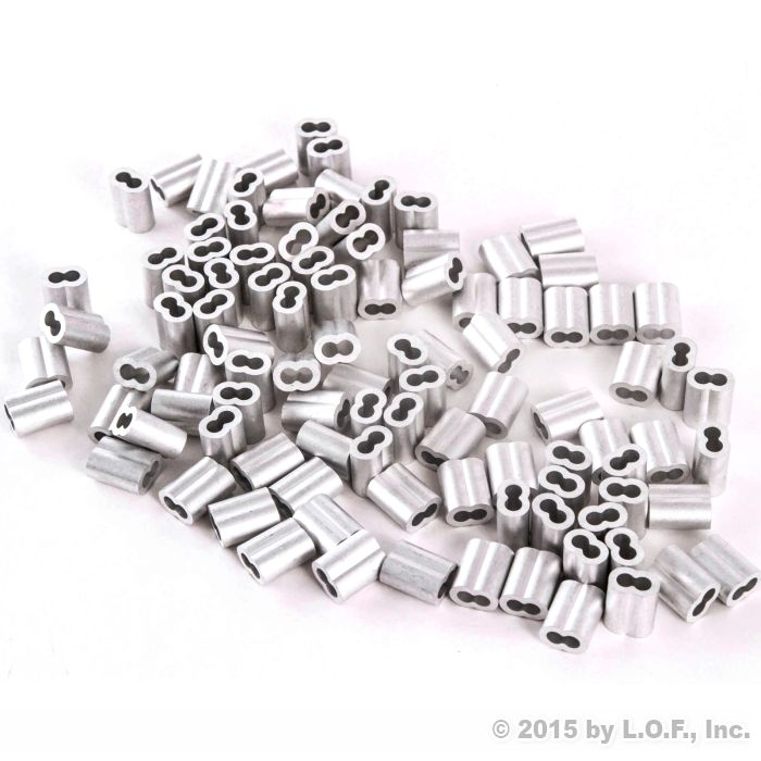"""100 Sleeve Ferrules 5//32/"""" Aluminum Cable Snare Wire Swage Line End Double Barrel"""