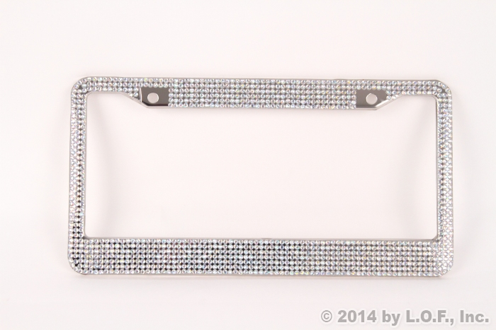 Prism Effect Silver Bling Crystal RhineStone License Plate Frame Car ...