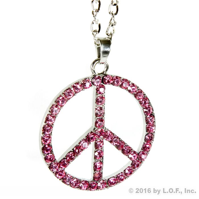 Peace Symbol Rear View Mirror Hanging Car Charm Ornament Silver Pink