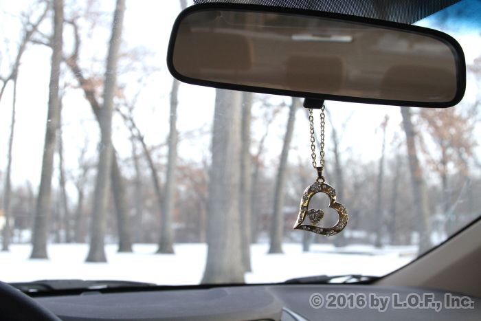 Double Heart Rear View Mirror Hanging Car Charm Ornament Gold