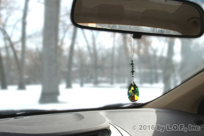 Crystal Bling Colorful Gem Rear View Mirror Hanging Car Charm